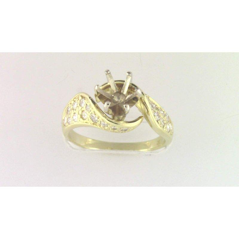 Pugh's Signature Ladies' 18k Yellow Gold Diamond Diamond Semi Mount Ring