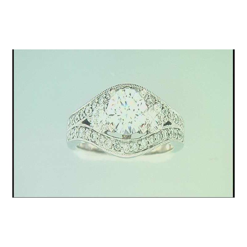 Pugh's Signature Ladies' 14k White Gold CZ Ring