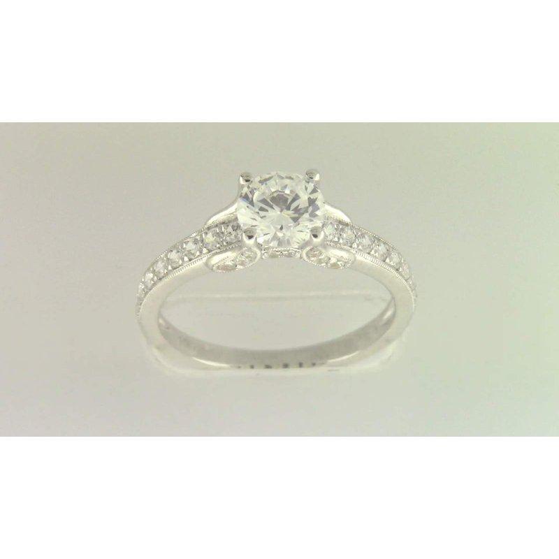 Zeghani 14k White Gold 6.5 Mm CZ Stone Diamond Semi Mount Ring
