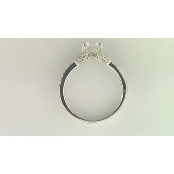 14k White Gold 6.5 Mm CZ Stone Diamond Semi Mount Ring
