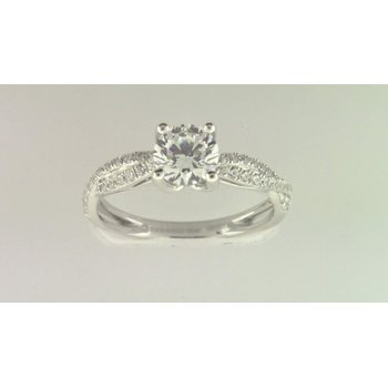 Ladies' 14k White Gold 6 Mm CZ Stone Diamond Semi Mount
