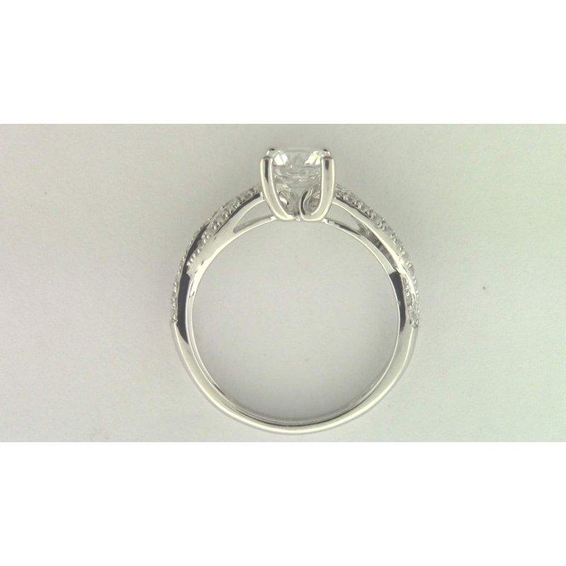Zeghani Ladies' 14k White Gold 6 Mm CZ Stone Diamond Semi Mount