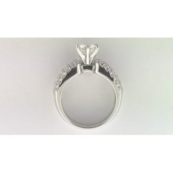 Ladies' 14k White Gold 7 Mm CZ Stone Diamond Semi Mount