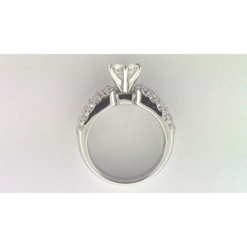 Zeghani Ladies' 14k White Gold 7 Mm CZ Stone Diamond Semi Mount