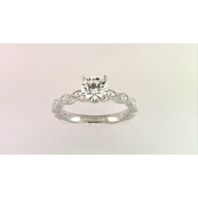 Pugh's Signature Ladies' 14k White Gold Cz Stone Diamond Semi Mount Ring