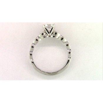 Ladies' 14k White Gold Cz Stone Diamond Semi Mount Ring