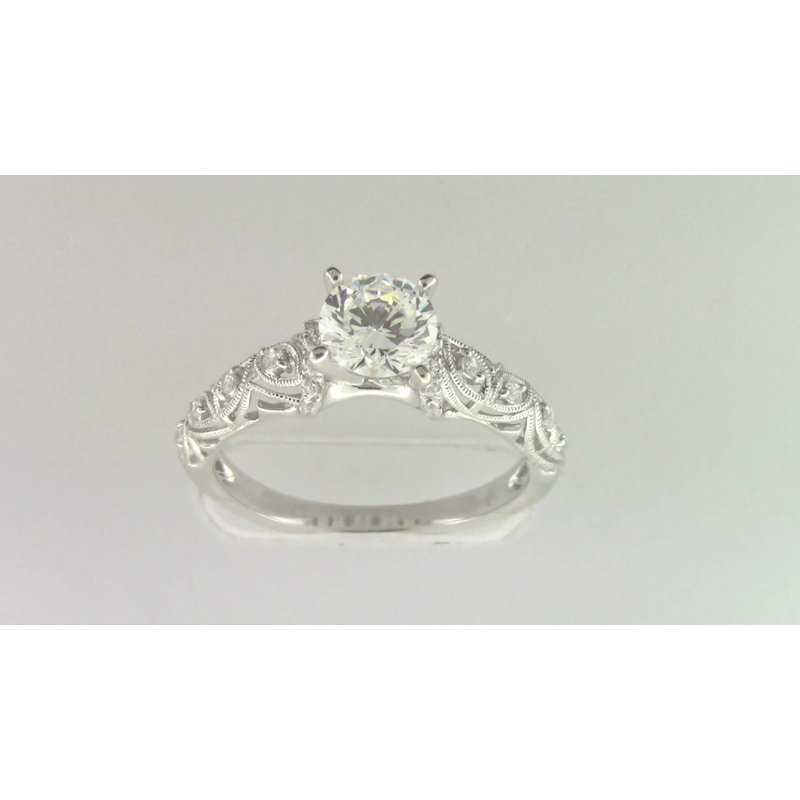 Zeghani 14k White Gold 6 Mm CZ Stone Ring