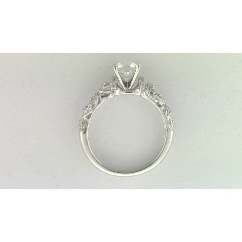 Zeghani 14k White Gold 6 Mm CZ Stone Ring