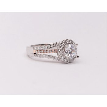 14k White And Rose Gold Cz Stone Semi Mount Ring