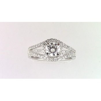 14k White Gold 6 Mm CZ Semi Mount Ring