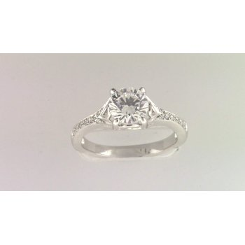 Ladies' 14k White Gold 6 Mm CZ Diamond Semi Mount Ring