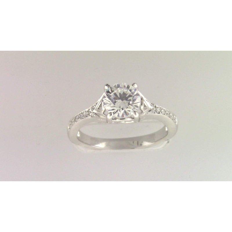 Zeghani Ladies' 14k White Gold 6 Mm CZ Diamond Semi Mount Ring