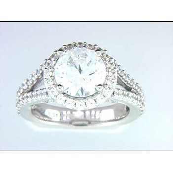 Ladies' 14k White Gold 8mm CZ Stone Ring