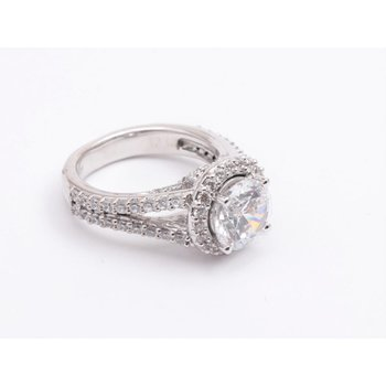 Ladies' 14k White Gold 8mm CZ Stone Ring