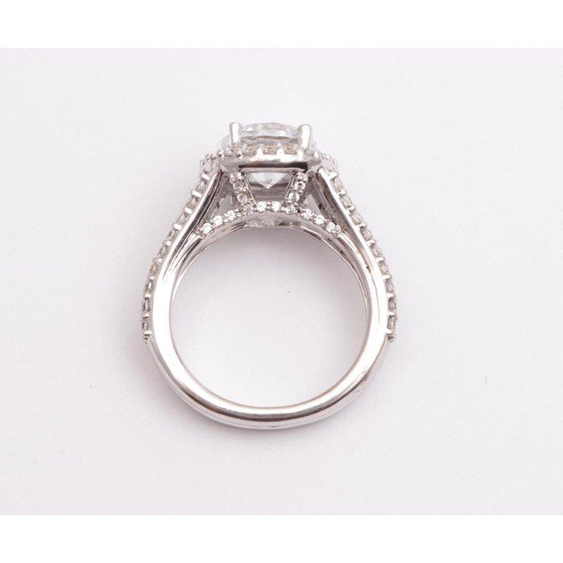 Pugh's Signature Ladies' 14k White Gold 8mm CZ Stone Ring