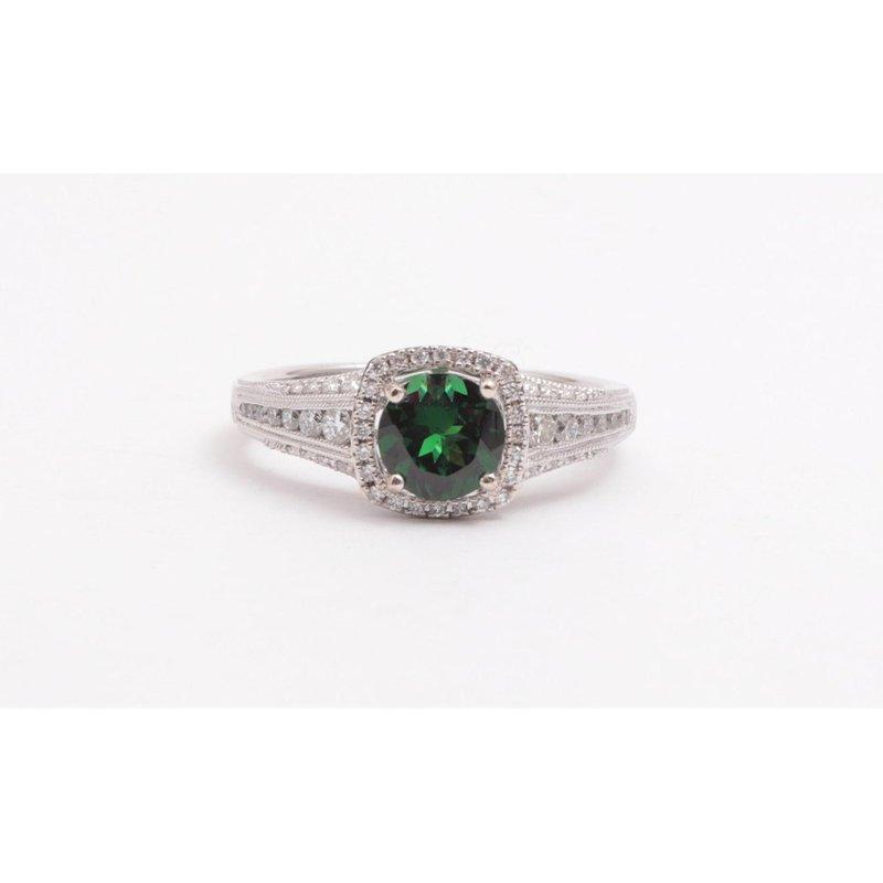 Zeghani Ladies 14k white gold tsavorite and diamond ring