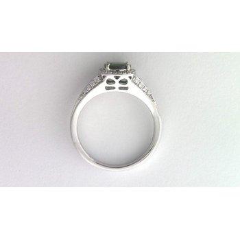 Ladies 14k white gold tsavorite and diamond ring