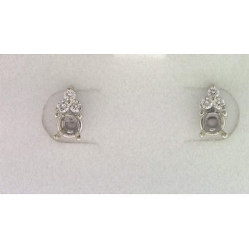 14k White Gold Diamond Earring Mountings