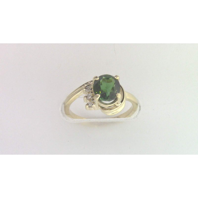 Pugh's Signature Ladies' 14k Yellow Gold Green Tourmaline Ring