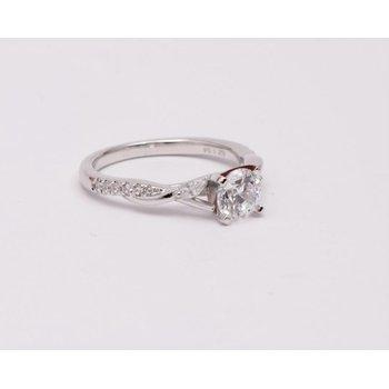 14k White Gold Cz Stone Ring