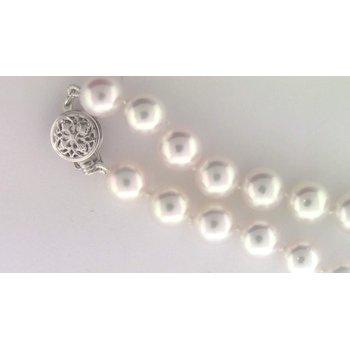 Ladies' 14k White Gold Akoya Cultured Pearl Bracelet