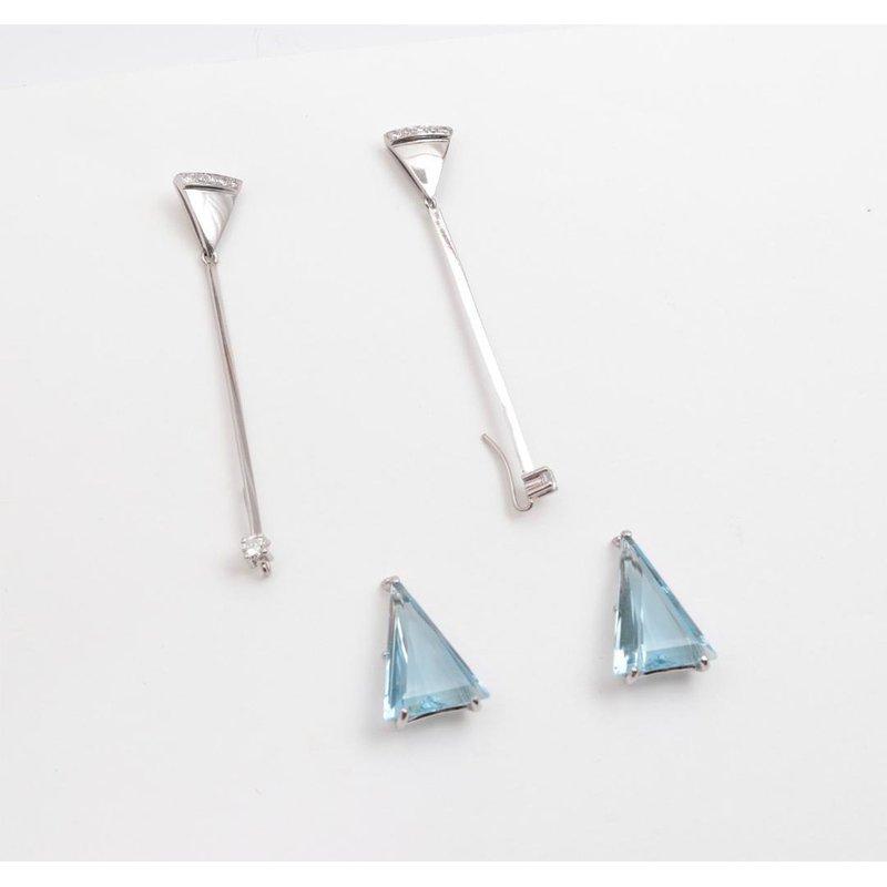 Pugh's Signature 14k White Gold Blue Topaz Earrings