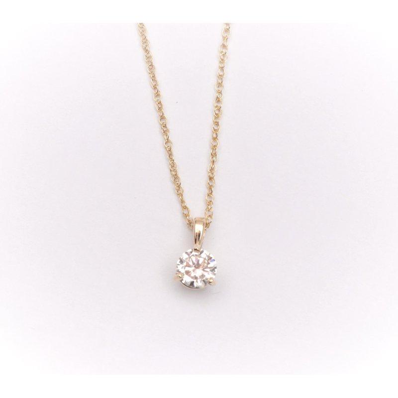 Pugh's Signature 14k yellow gold diamond solitaire pendant