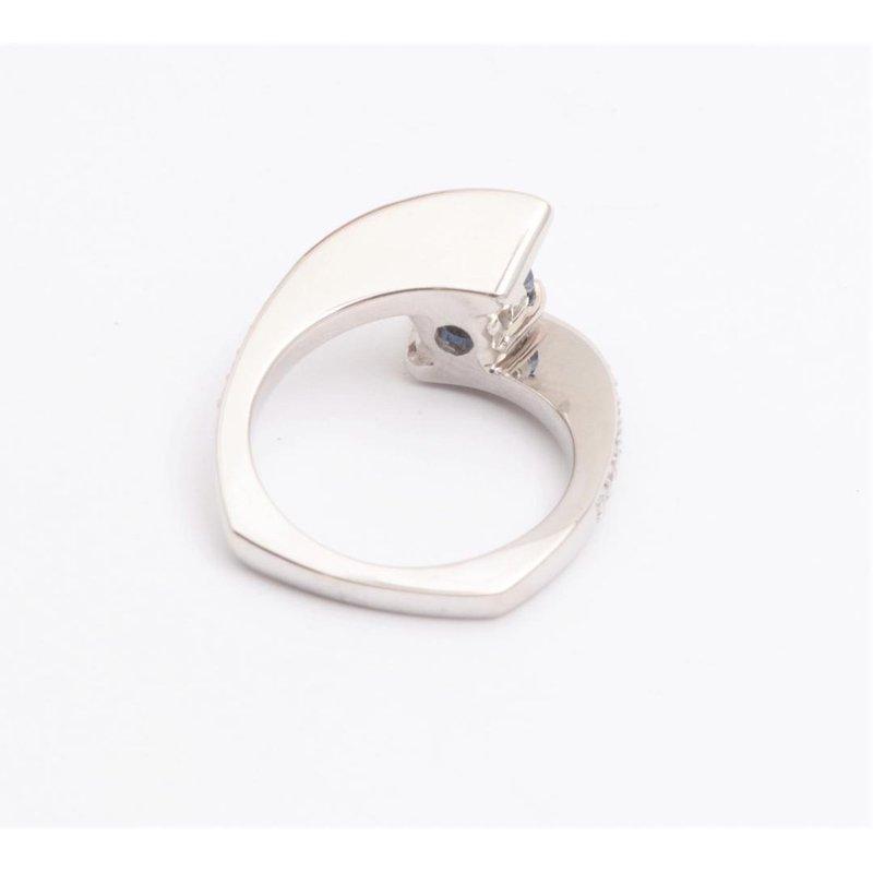 Pugh's Signature 14k White Gold Sapphire and Diamond Ring
