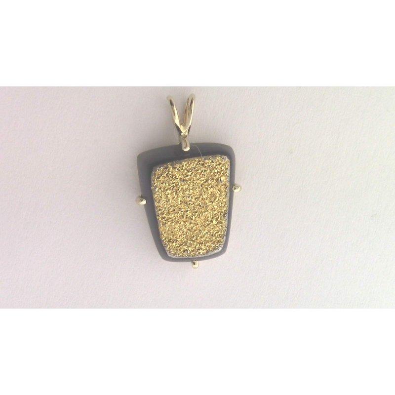 Pugh's Signature 14k Yellow Gold Drusy Quartz Pendant