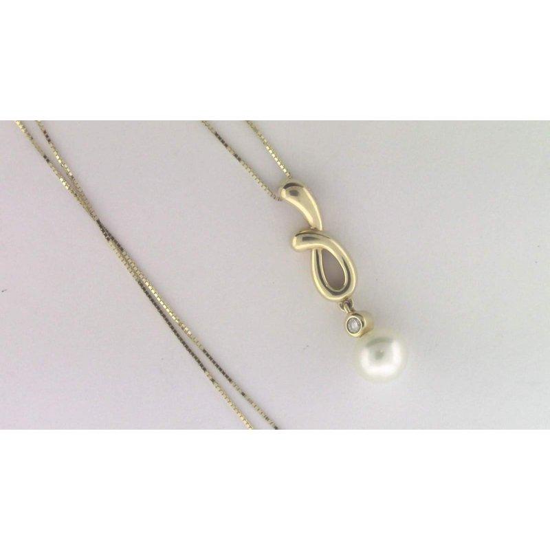 Pugh's Signature 14k Yellow Gold Cultured Pearl Pendant