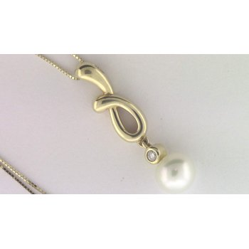 14k Yellow Gold Cultured Pearl Pendant