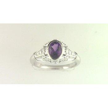 Ladies' 14k White Gold Amethyst Ring