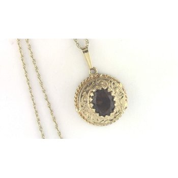14k Yellow Gold Smoky Quartz Locket