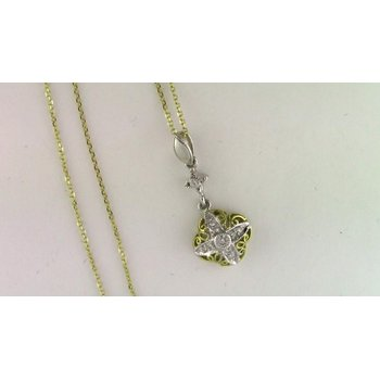 18k Yellow Gold And Platinum Diamond Pendant