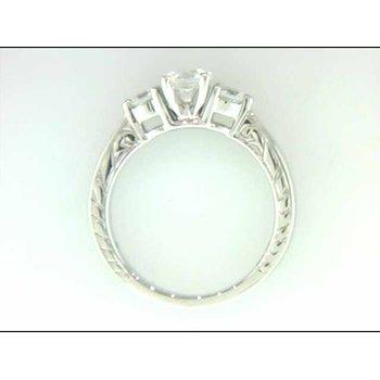 Ladies' 14k White Gold Round CZ Stone Semi Mount Ring