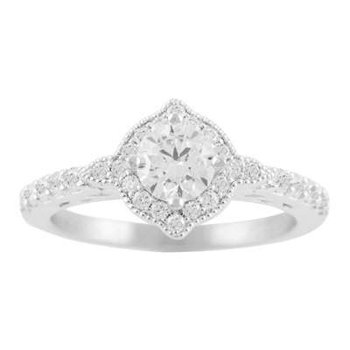 Ladies' 14k White Gold 5.5 Mm CZ Diamond Semi Mount Ring