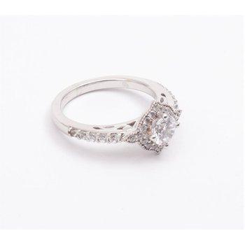 Ladies' 14k White Gold 5.5 Mm CZ Diamond Semi Mount Ring