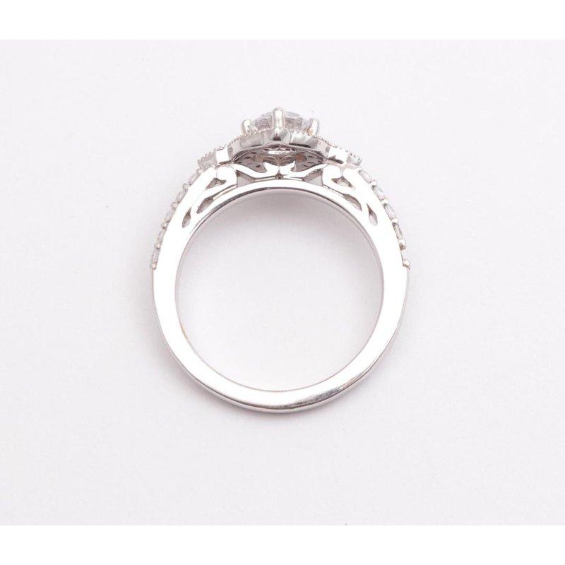 Pugh's Signature Ladies' 14k White Gold 5.5 Mm CZ Diamond Semi Mount Ring