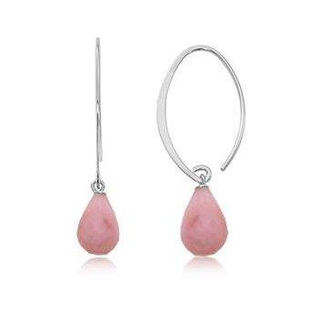 Sterling Pink Opal Earrings
