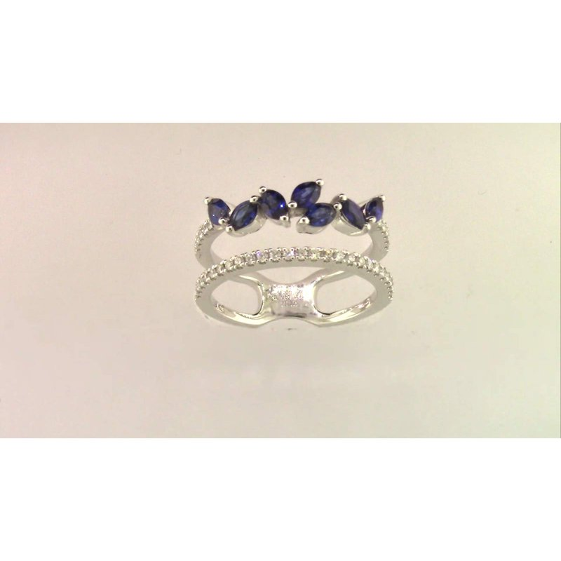 Zeghani Ladies' 14k White Gold Sapphire Ring