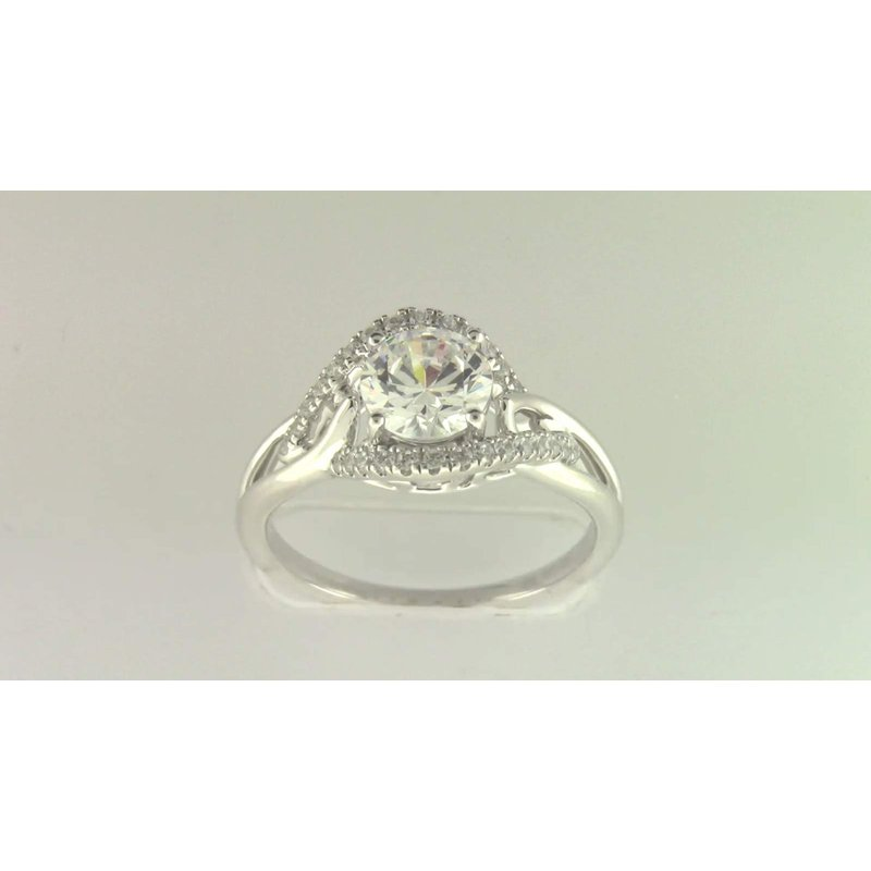 Zeghani Ladies' 14k White Gold 6.5 Mm CZ Diamond Semi Mount Ring