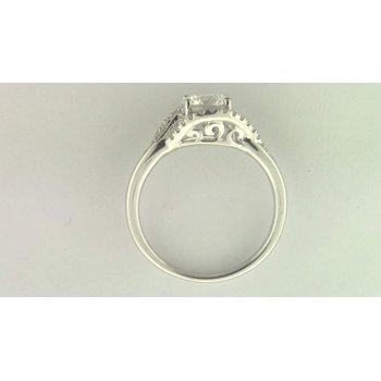 Ladies' 14k White Gold 6.5 Mm CZ Diamond Semi Mount Ring