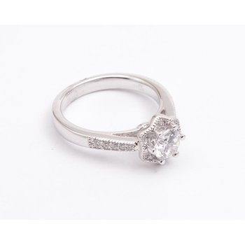 Ladies' 14k White Gold 5.5 Mm CZ Ring