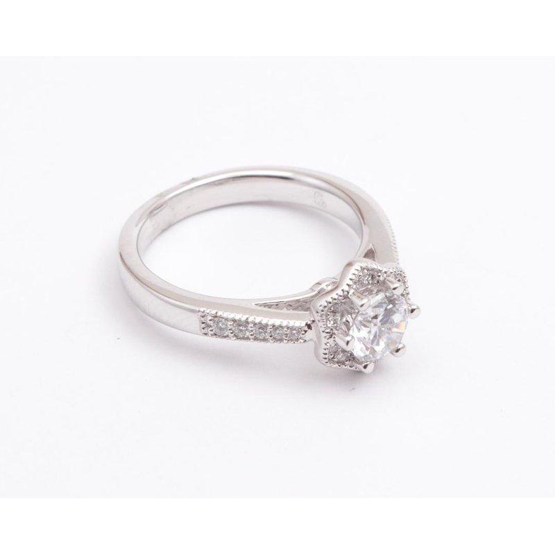 Pugh's Signature Ladies' 14k White Gold 5.5 Mm CZ Ring