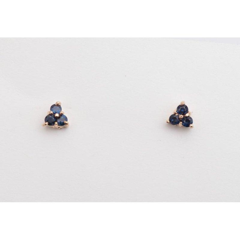 Pugh's Signature 14k Yellow Gold Sapphire Earrings