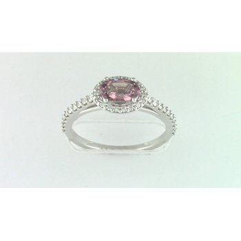 Ladies' 14k White gold Champagne Malayan garnet and diamond ring
