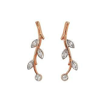 Ladies' 14k Rose Gold Diamond Earrings