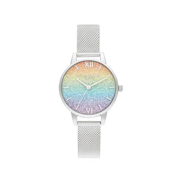 Rainbow Glitter Midi Dial Silver Mesh Watch
