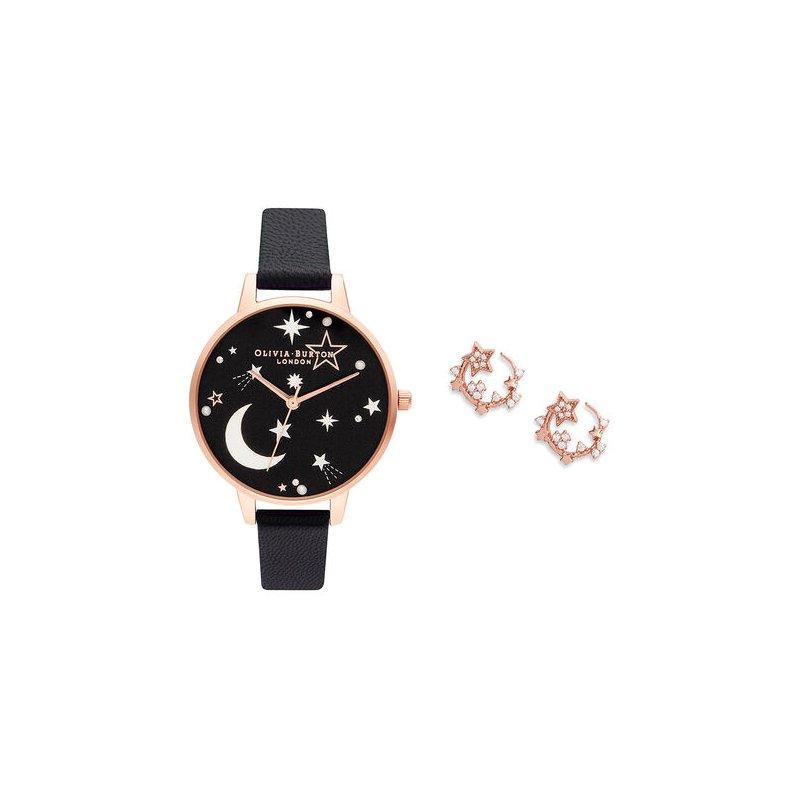 Olivia Burton Celestial Black & Rose Gold Gift Set