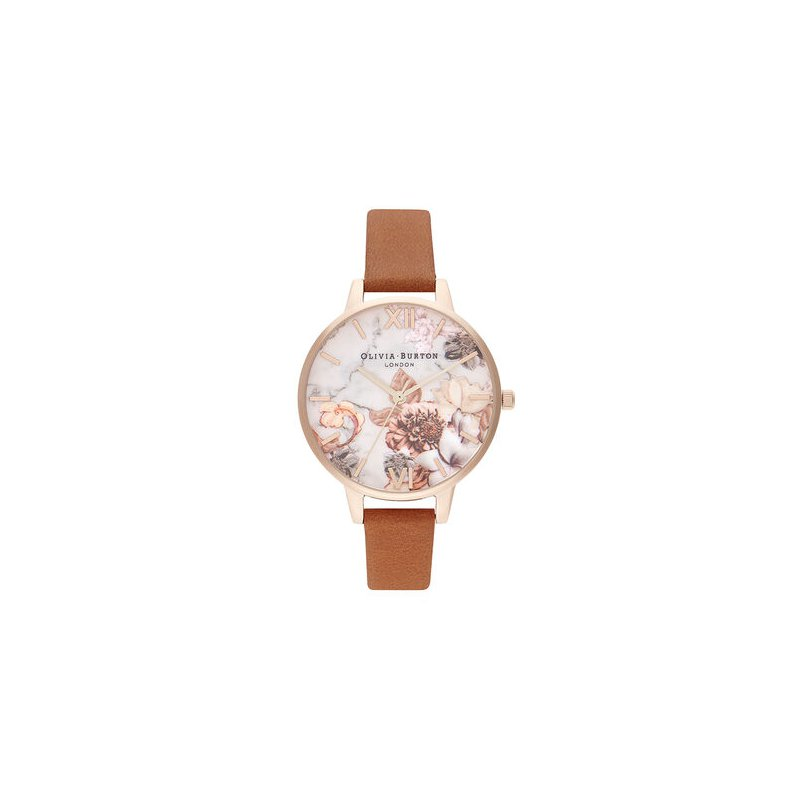 Olivia Burton Marble Floral Tan & Rose Gold Watch